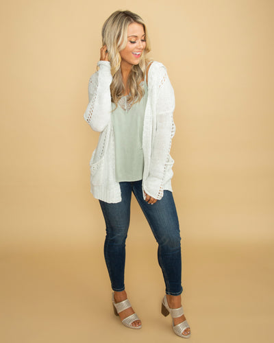 Because Love Was Easy Knit Hooded Cardigan - Heather Ivory