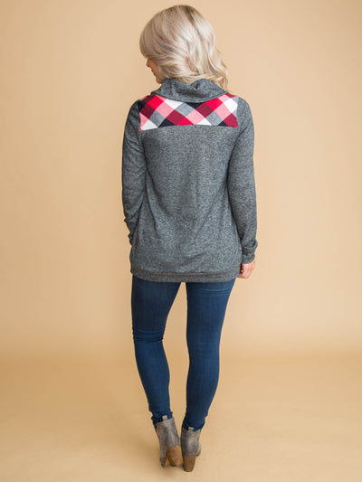 Before We Knew It Plaid Top - Charcoal
