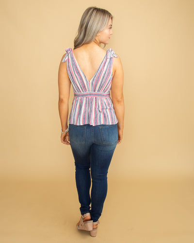 Behind The Scenes Stripe Button Tank - Pink Multi