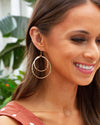 Bella Double Hoop Earrings - Ivory/Gold