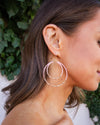 Bella Double Hoop Earrings - Pink/Gold
