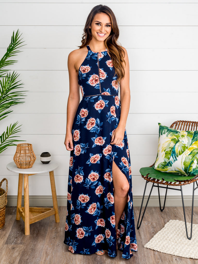 Beneath The Stars Floral Maxi Dress - Navy