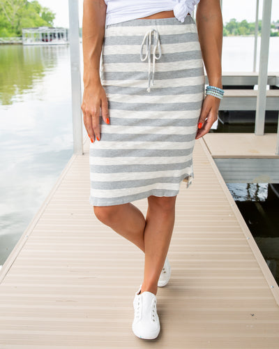 Better Days Stripe Skirt - Heather Grey