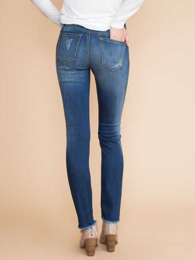 Bexley Distressed Straight Leg Jean - Medium Wash
