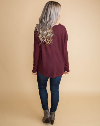 Beyond Beautiful Embroidered Knot Top - Burgundy