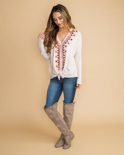 Beyond Beautiful Embroidered Knot Top - Cream