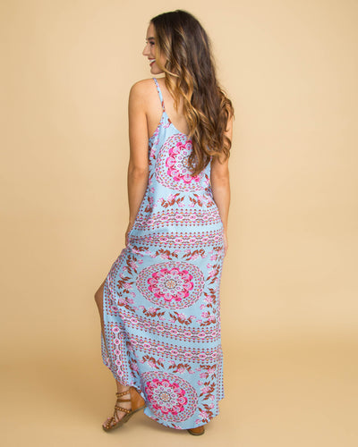 Blissful Bay Floral Print Maxi - Lt. Blue