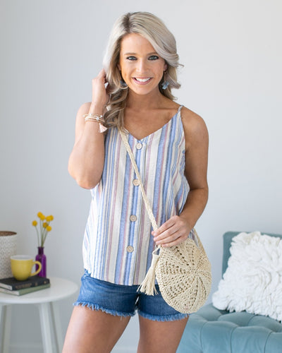Blissful Breeze Stripe Button Tank - Cream Multi