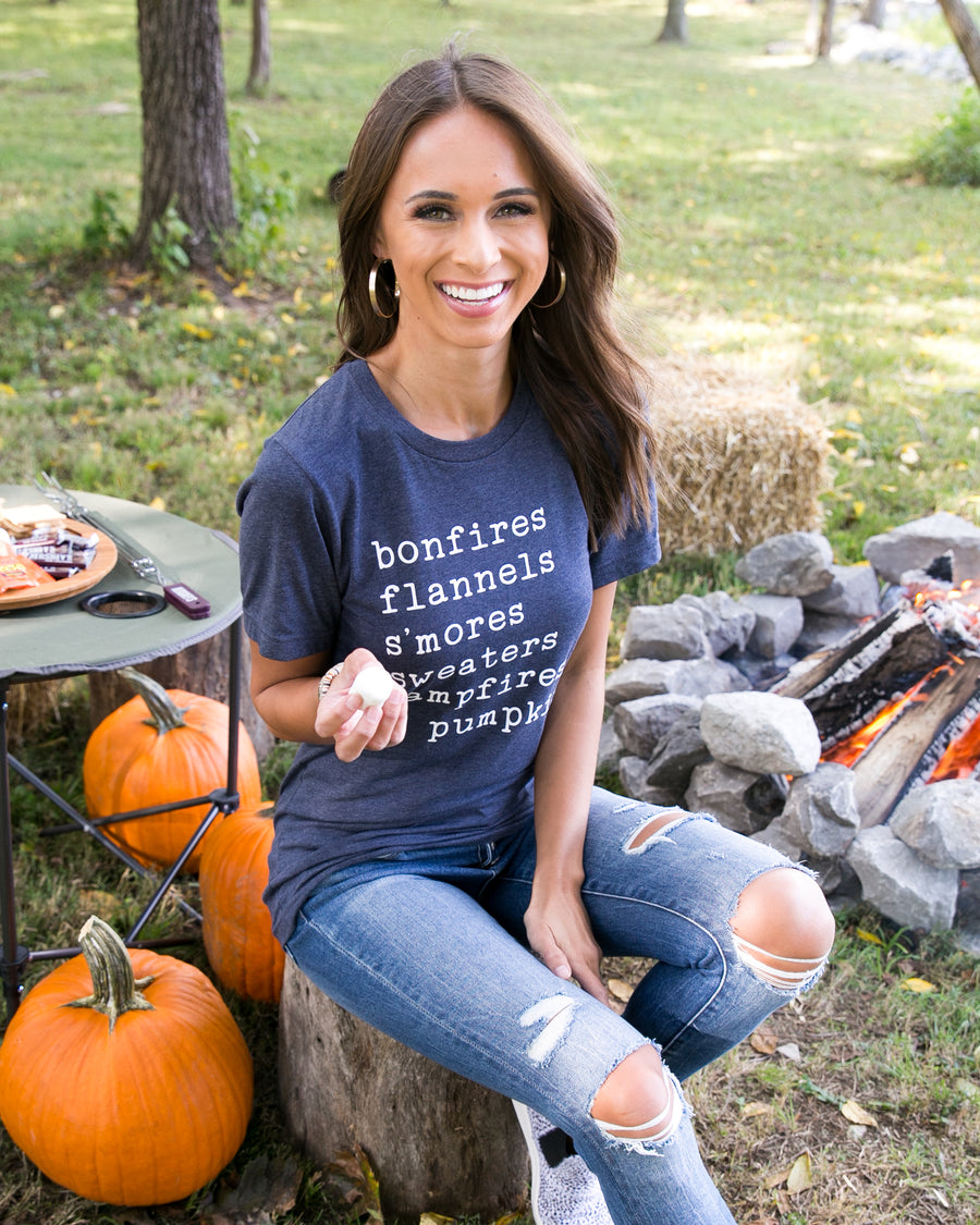 Bonfires, Flannels, Smores Graphic Tee - Navy