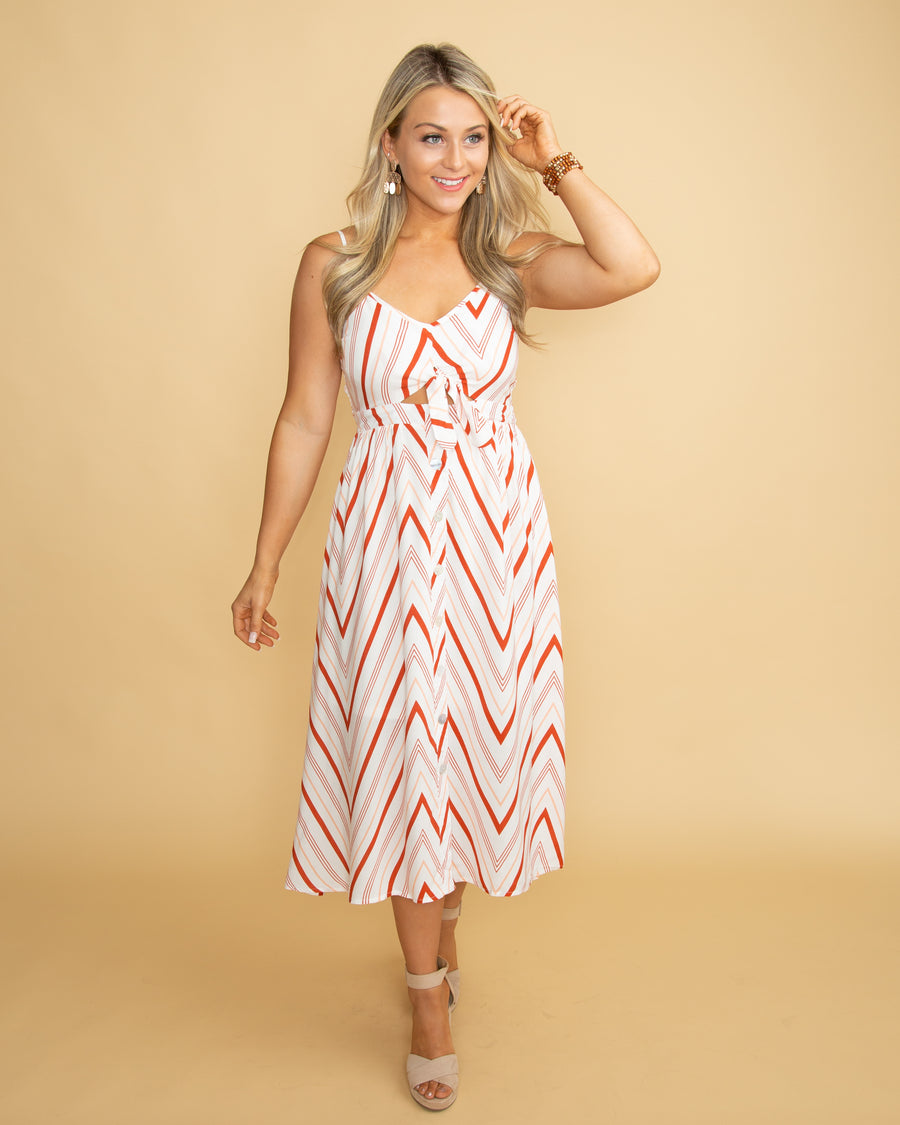 Bound For Beauty Stripe Button Dress - Rust/Off White