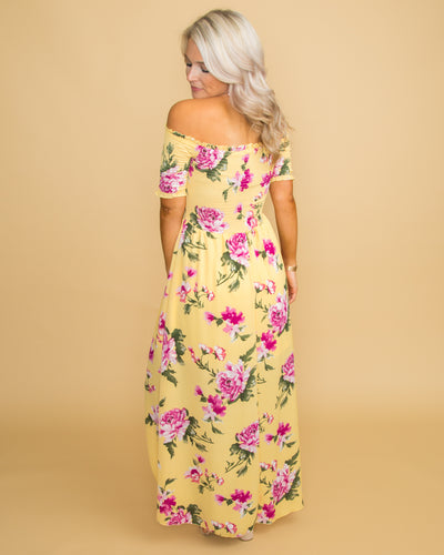 Breath of Fresh Air Floral Off Shoulder Dress - Yellow