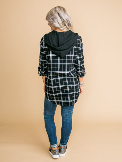 Bring To Your Attention Plaid Zip Up Hoodie - Black