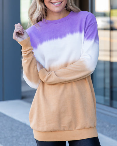 Brings Me Happiness Pullover - Purple Multi