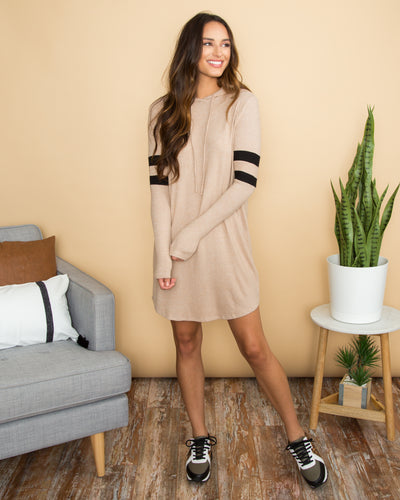 Brink Of Beauty Varsity Stripe Hooded Dress - Tan