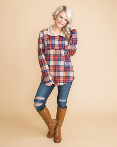 By The Bonfire Plaid Pullover - Taupe