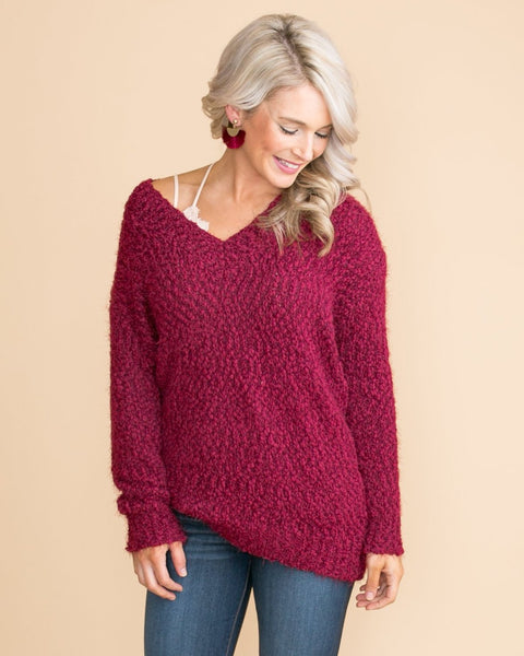 By This Time Sweater - Burgundy
