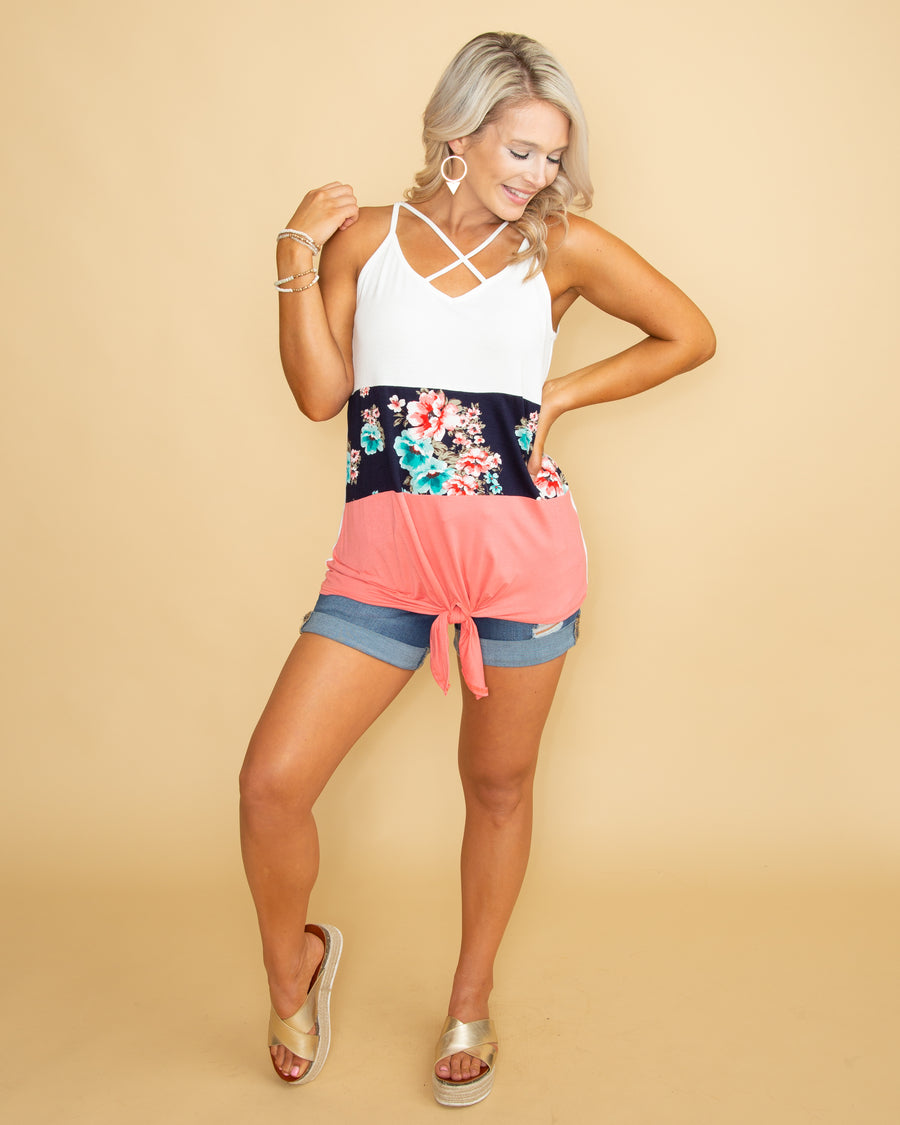 Caribbean Waters Floral Criss Cross Tank - Coral