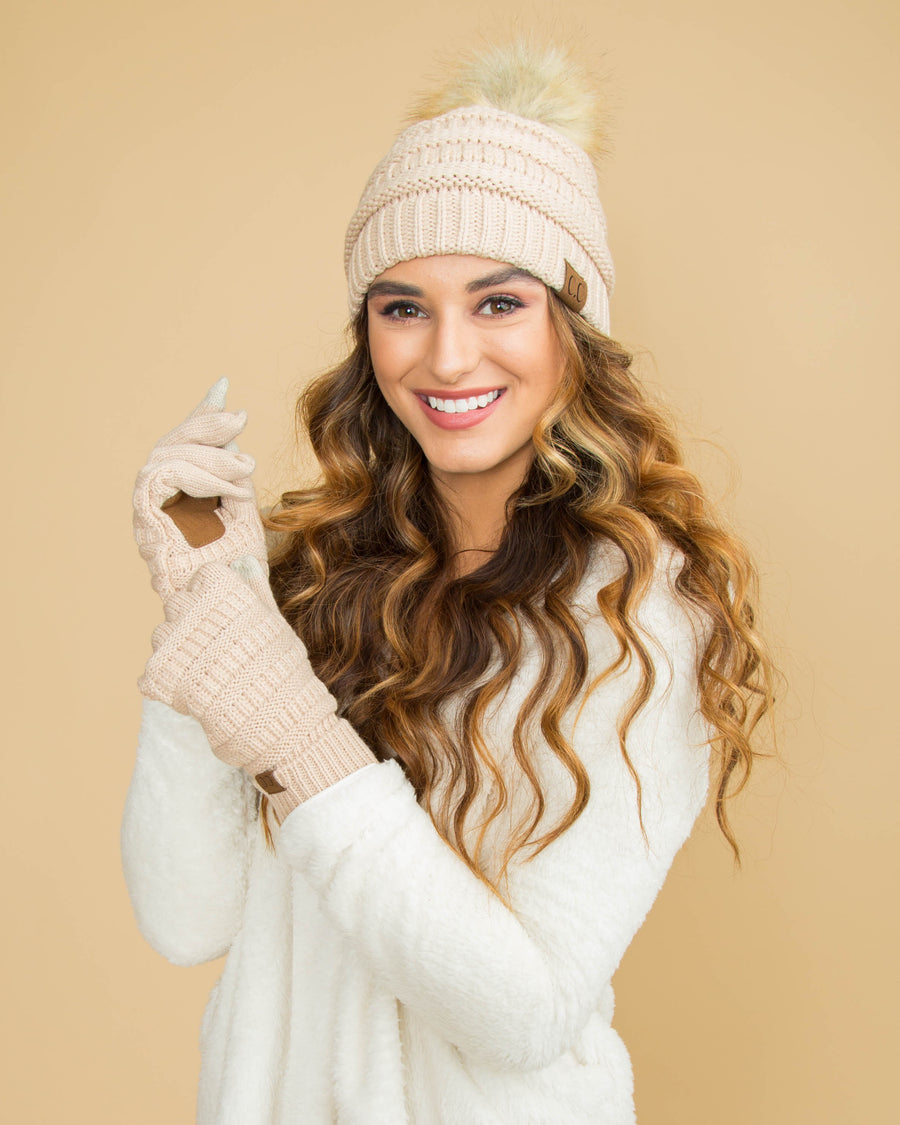 CC Cable Knit Beanie - Almond