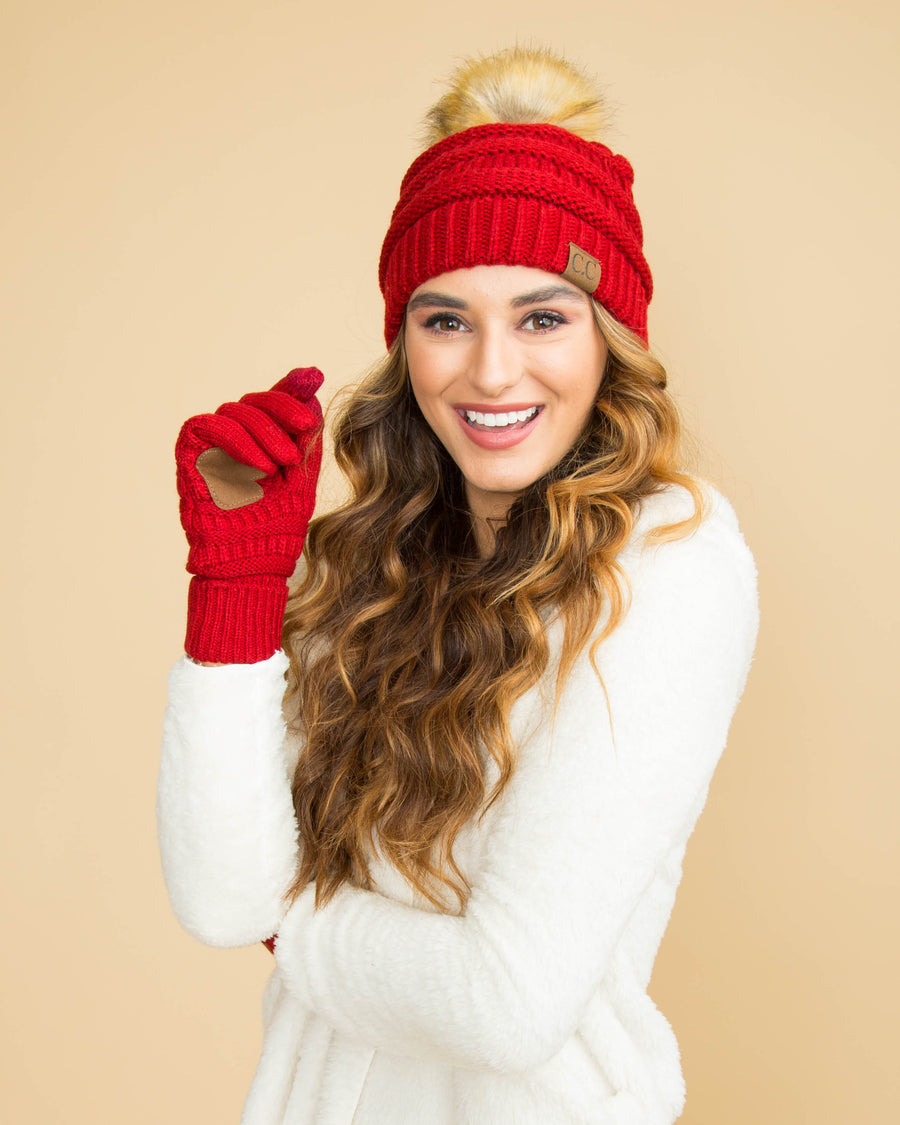CC Cable Knit Beanie - Red