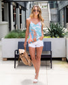 Call The Shots Tank - Light Blue Multi