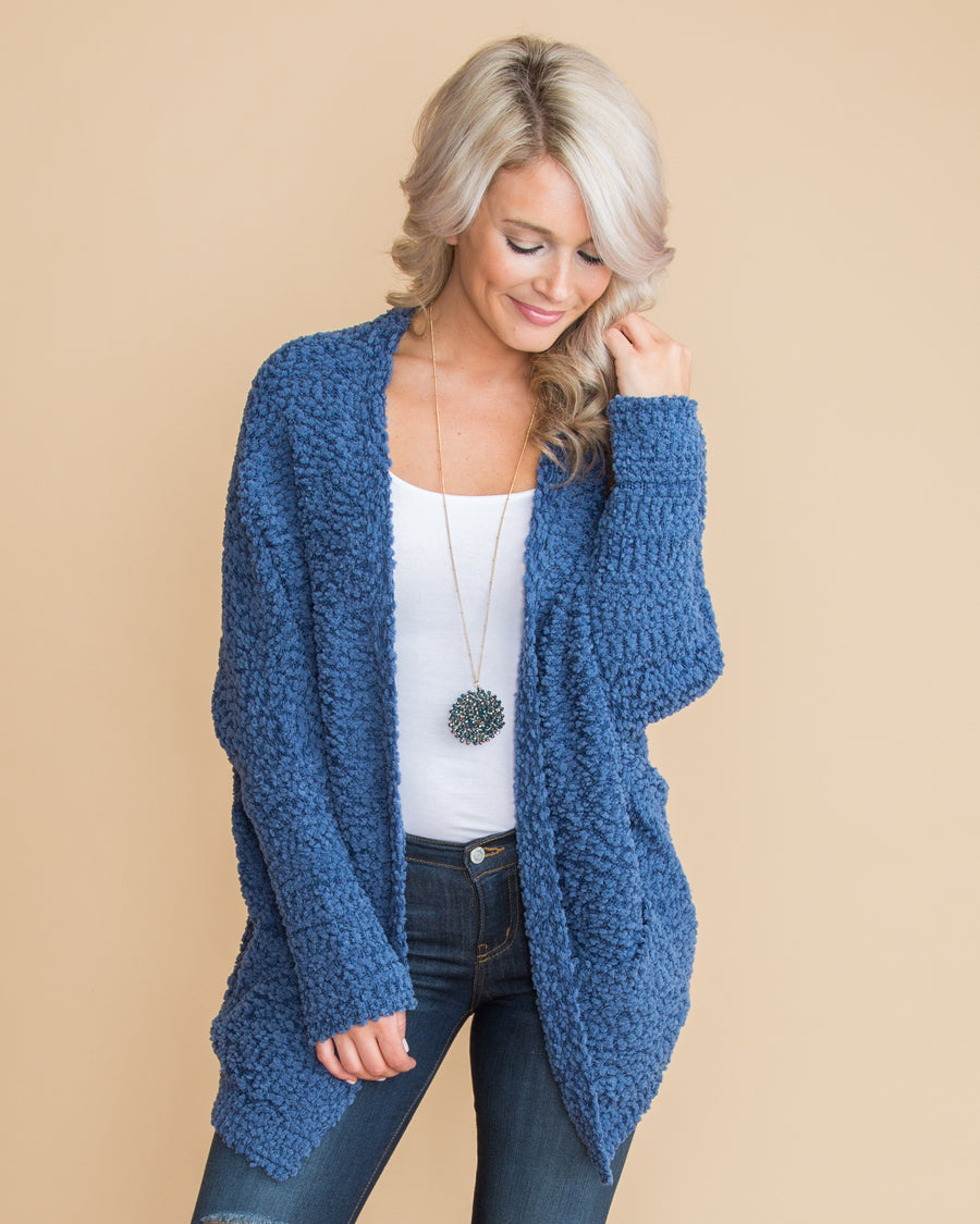 Call It Cozy Oversized Cardigan - Denim Blue