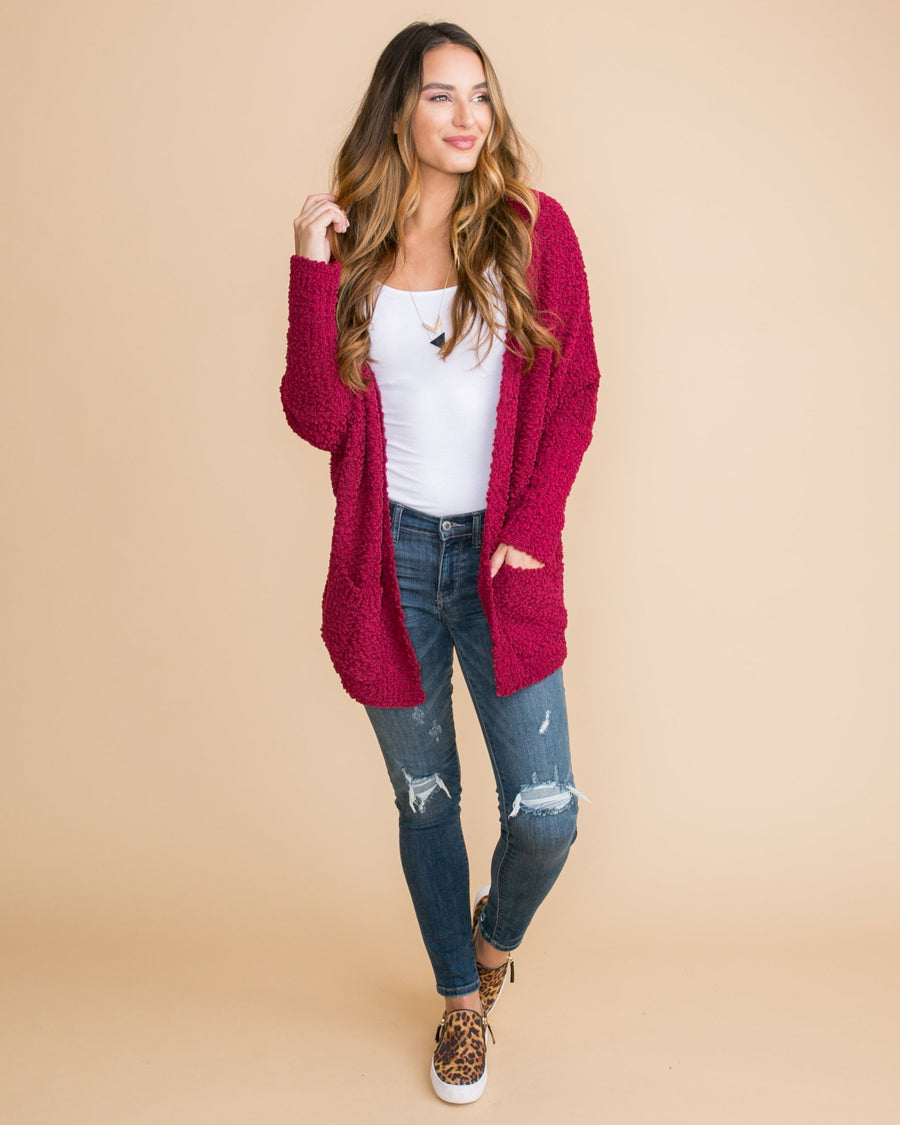 Call It Cozy Oversized Cardigan - Ruby