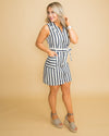 Call Me Chic Stripe Zip Up Dress - Navy