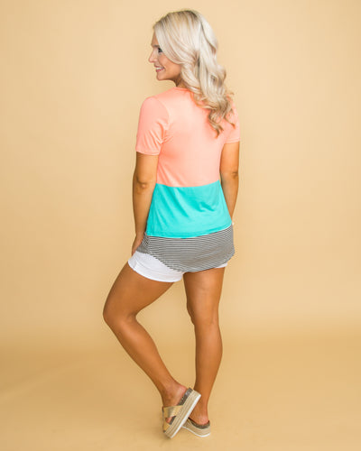 Can It Be Summer Color-Block Stripe Top - Peach/Turquoise