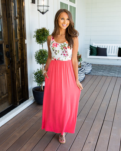 Can't Wait For Vacay Maxi Dress - Coral