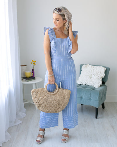Can't Let Love Go Ruffle Stripe Jumpsuit - Blue