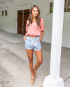Candace Cropped V-Neck Top - Light Coral