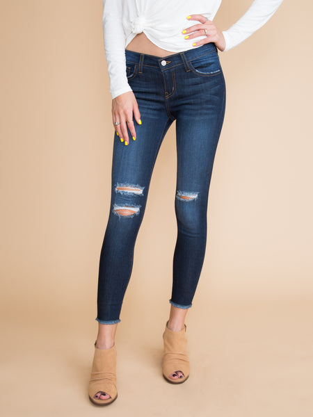 Caprice Distressed Frayed Skinny Jeans - Dark Wash