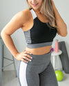 Cardio Cutie Color-Block Sports Bra - Black/Grey