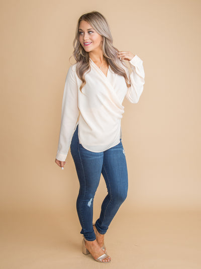Career Babe Button Blouse - Ivory
