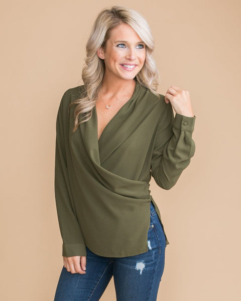 Career Babe Button Blouse - Olive