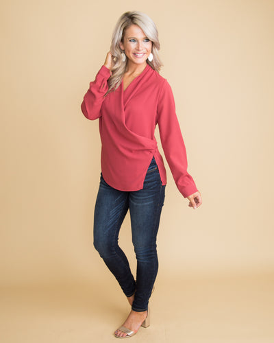 Career Babe Button Blouse - Red