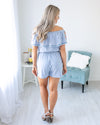 Caribbean Coast Embroidered Stripe Romper - Lt Blue