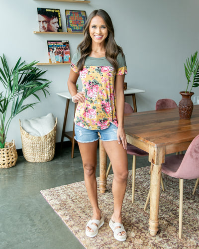 Casual Connection Floral Top - Mustard