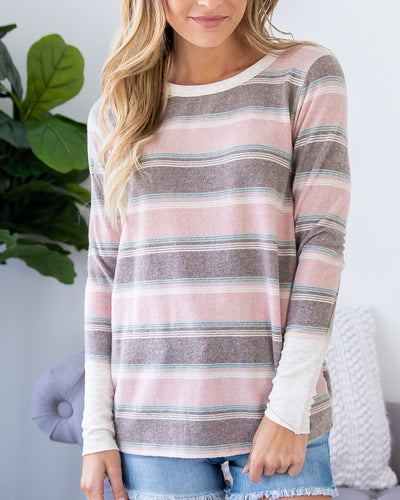 Casual Days Stripe Top - Pink Multi