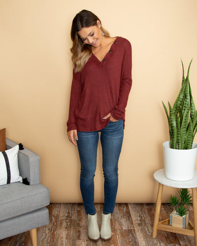 Casual Friday Top - Burgundy