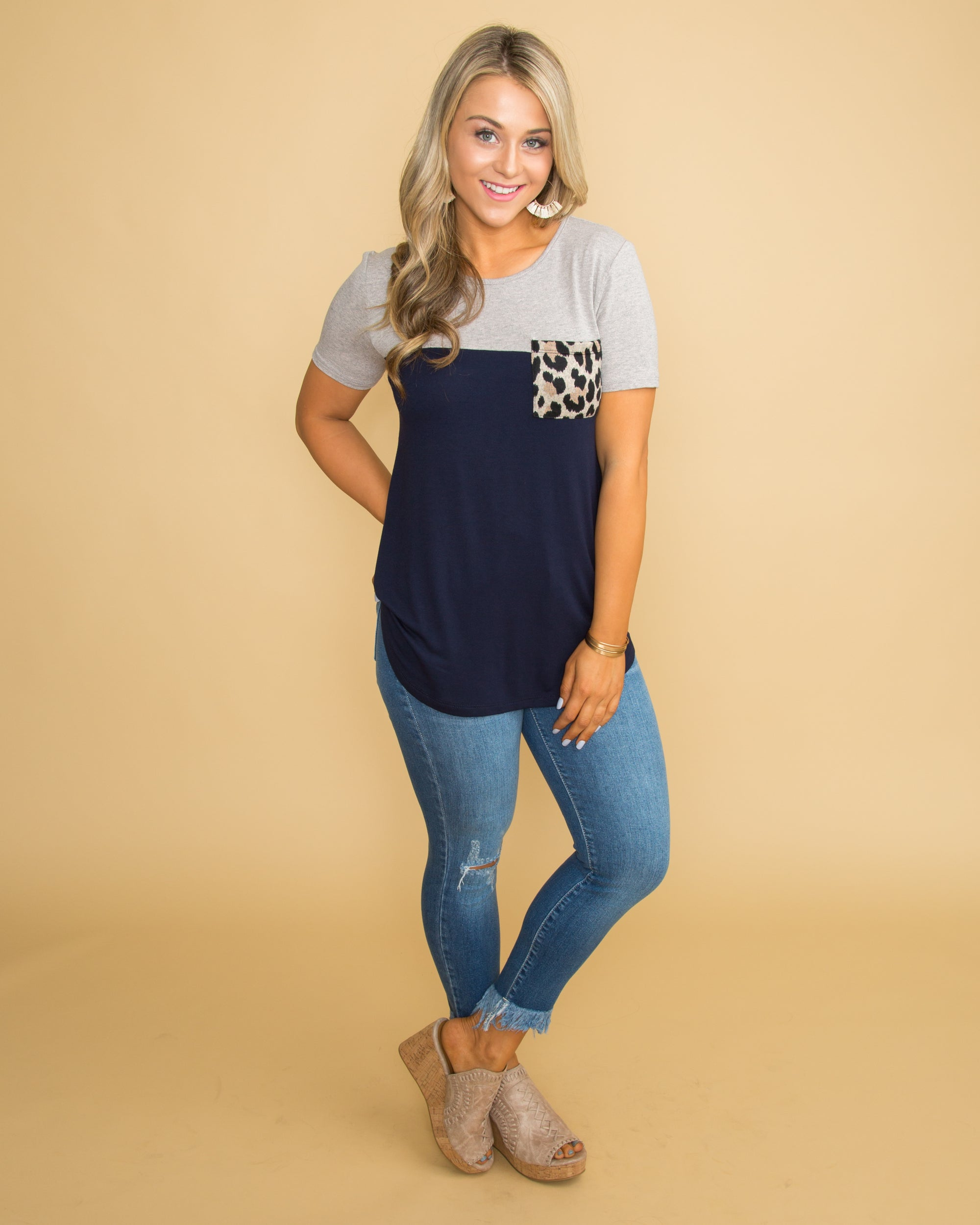 e8397ce0699 Casually Dreaming Color Block Leopard Top - Navy - Eleven Oaks Boutique