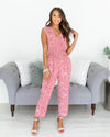 Caught My Eye Jumpsuit - Coral Pink