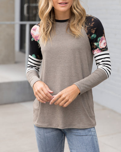 Catch Your Interest Top - Dark Taupe