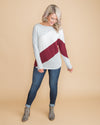 Caught In Autumn Color-Block Stripe Top - Burgundy