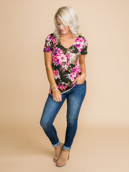 Caught In My Daydreams Floral Sequin Pocket Top - Deep Olive