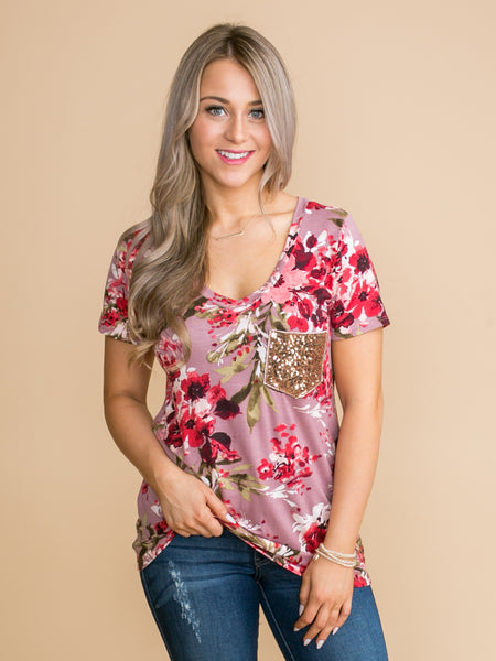 Caught In My Daydreams Floral Sequin Pocket Top - Mauve