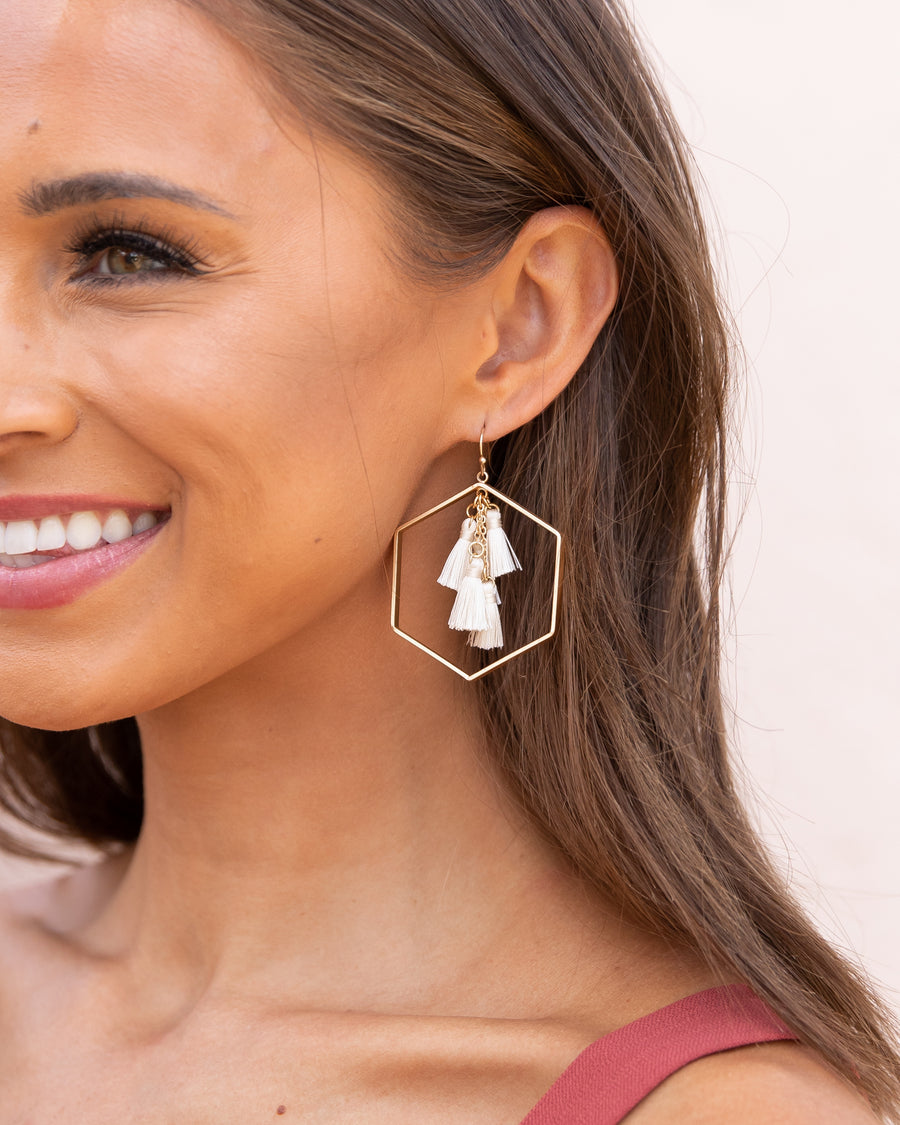 Cecilia Tassel Earrings - Ivory