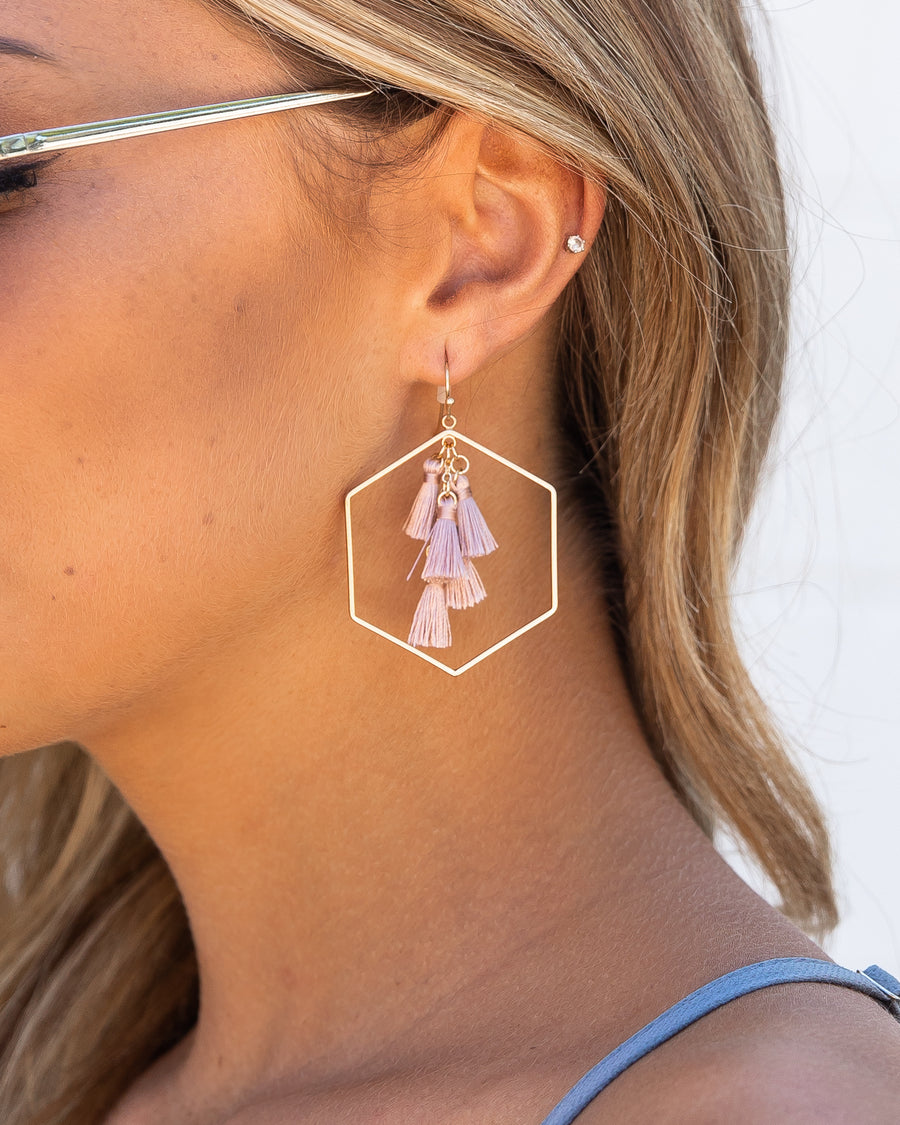 Cecilia Tassel Earrings - Pink