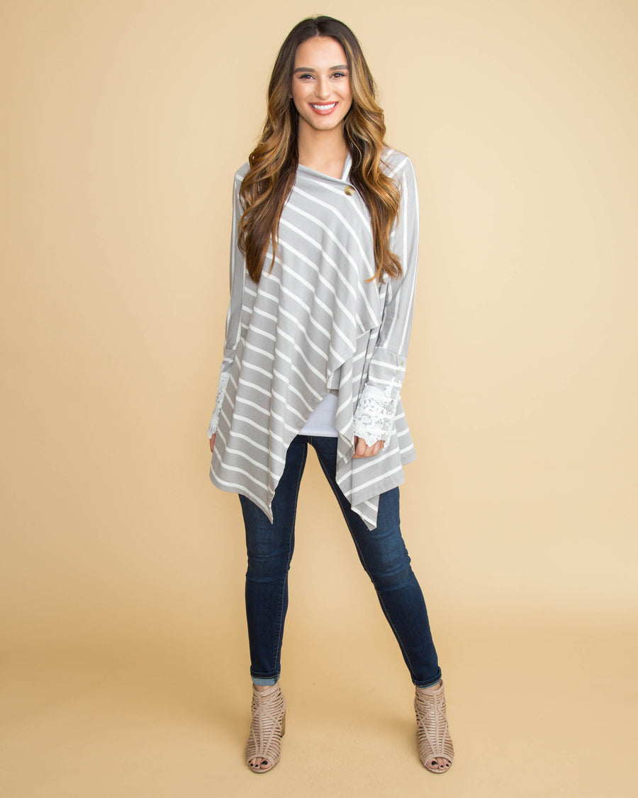 ef78ac85b7 Center Of Attention Stripe Lace Cardigan - Lt Grey