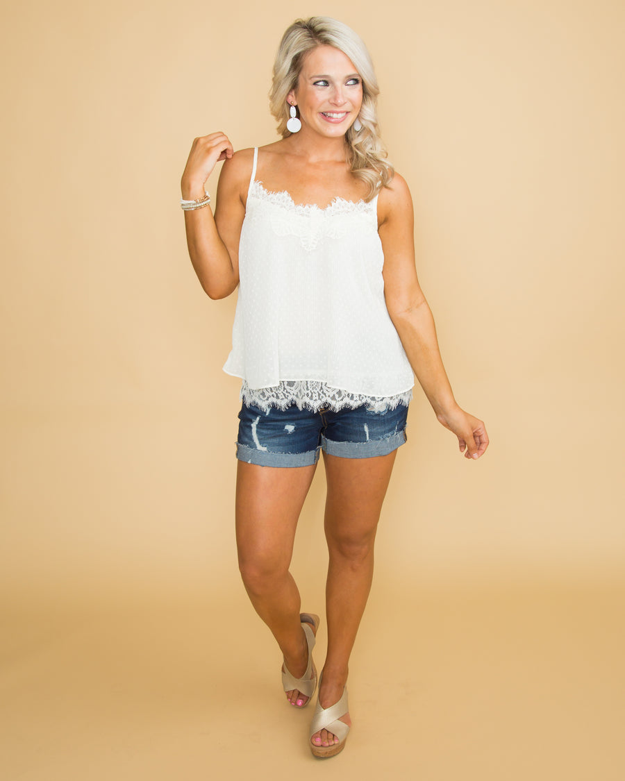 Champagne Dreams Lace Tank - Cream